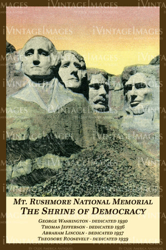 Mount Rushmore Postcard 1939 - 2