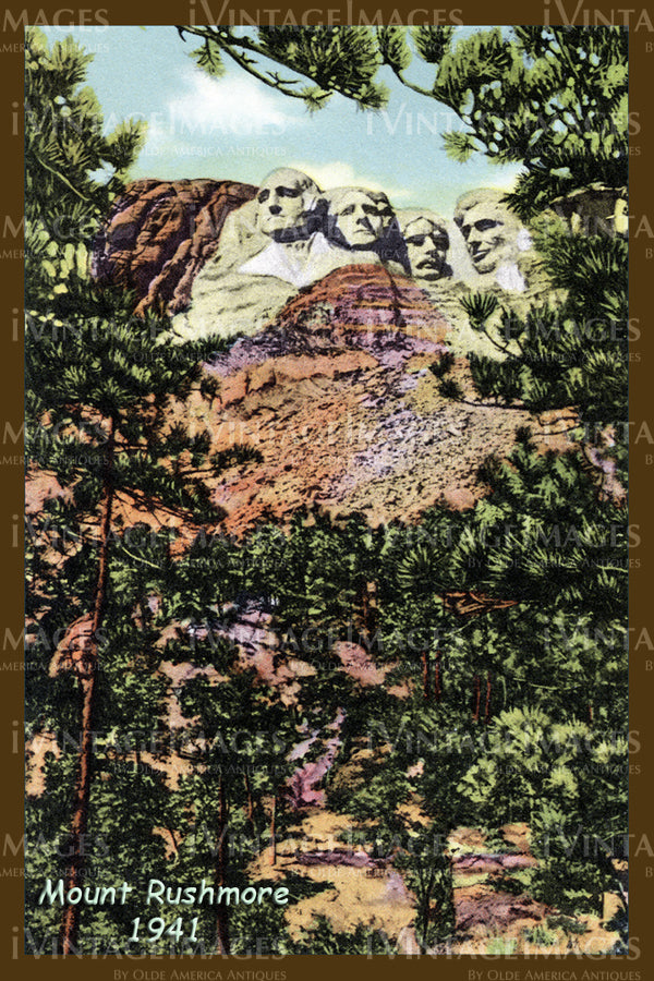 Mount Rushmore Postcard 1941 - 4