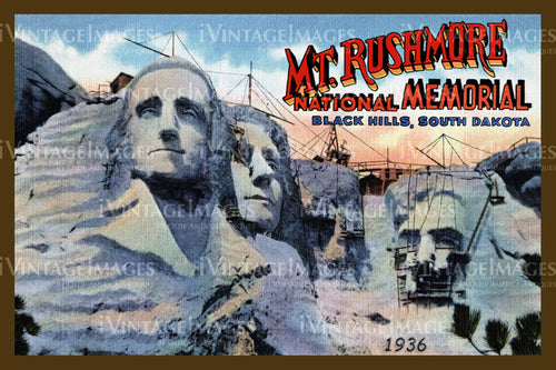 Mount Rushmore Postcard 1936 - 5