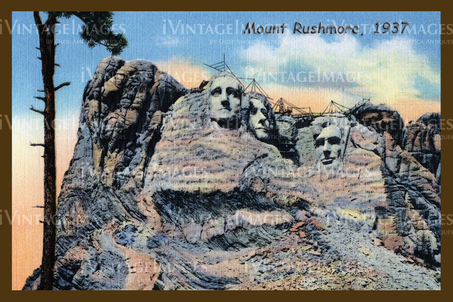 Mount Rushmore Postcard 1937 - 6