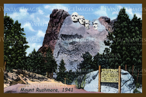 Mount Rushmore Postcard 1941 - 8