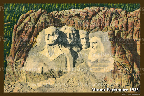 Mount Rushmore Postcard 1935 - 9