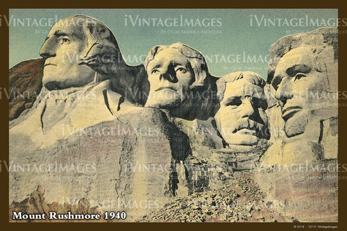 Mount Rushmore Postcard 1940 - 13