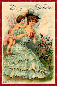 Victorian Valentine and Cupid 1910- 19