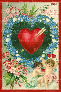 Victorian Valentine and Cupid 1910 - 36