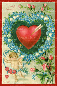 Victorian Valentine and Cupid 1910 - 37