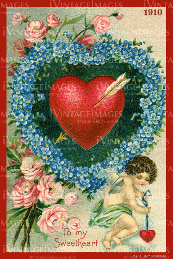 Victorian Valentine and Cupid 1910 - 38