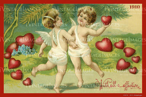Victorian Valentine and Cupid 1910- 59