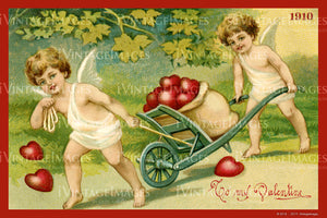 Victorian Valentine and Cupid 1910- 60