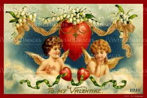 Victorian Valentine and Cupid 1910- 64