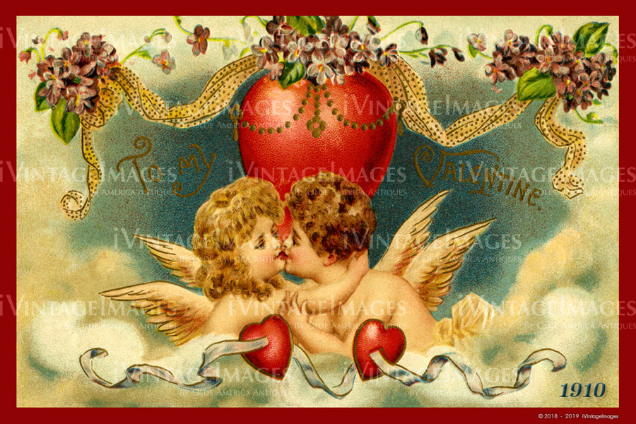 Victorian Valentine and Cupid 1910- 66