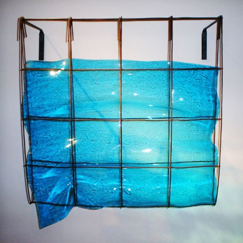 """Slumped Blue Glass"" by Mary Shaffer"