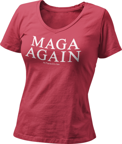 MAGA AGAIN Women's V-Neck T-Shirt