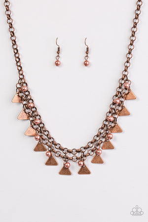 Pretty In Pyramids Necklace - Copper