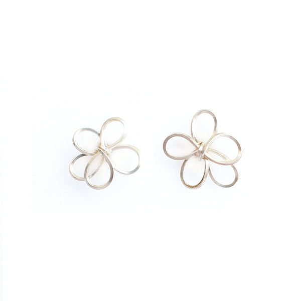 Petalos Exoticos Button Earrings (15mm) - Stearling Silver