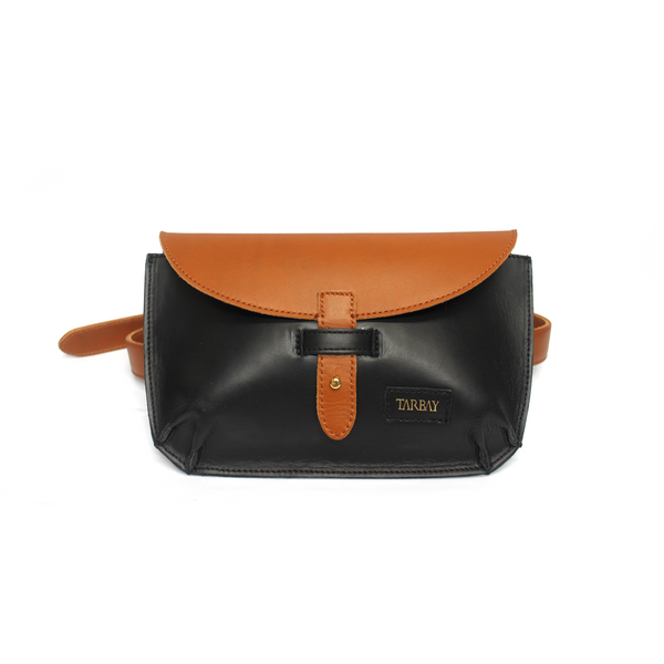 Tajali Genuine Leather Belt Bag - Black
