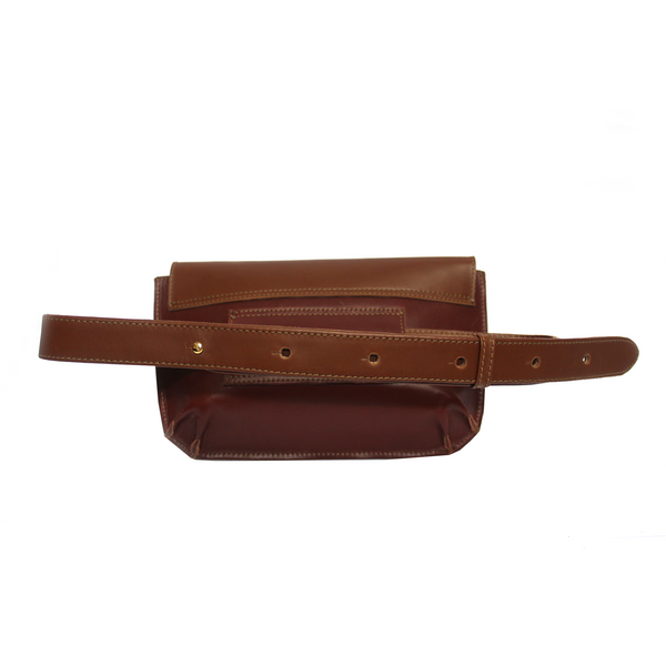 Tajali Genuine Leather Belt Bag - Bordeaux
