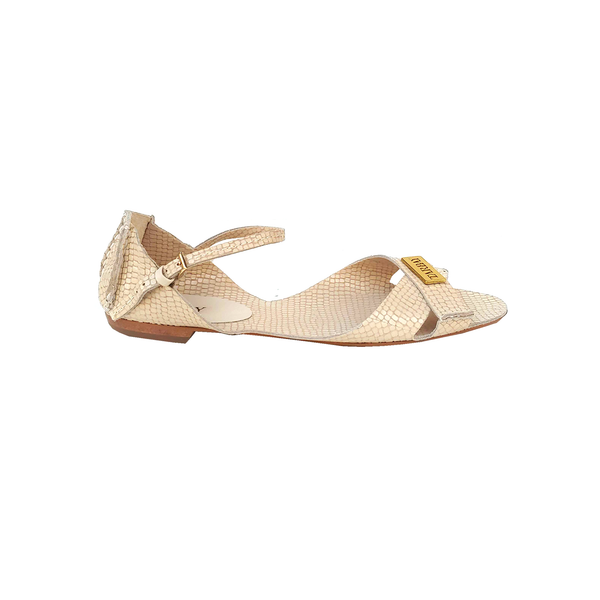 Tajali Leather Sandals - Viper Off White