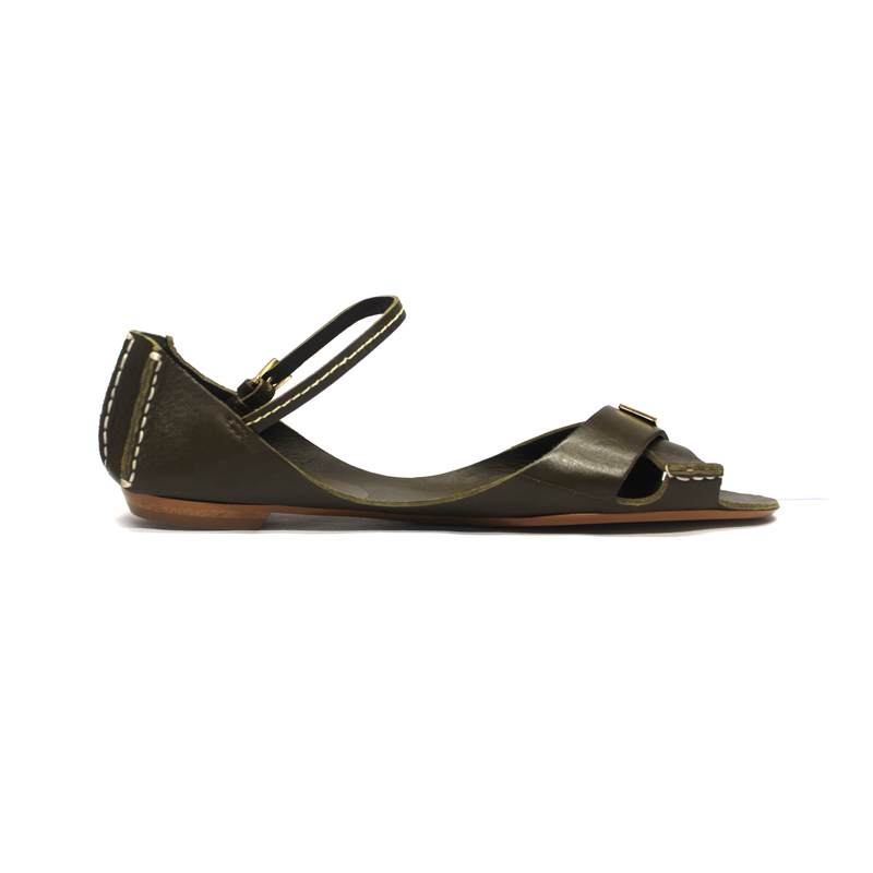Tajali Leather Sandals - Herb