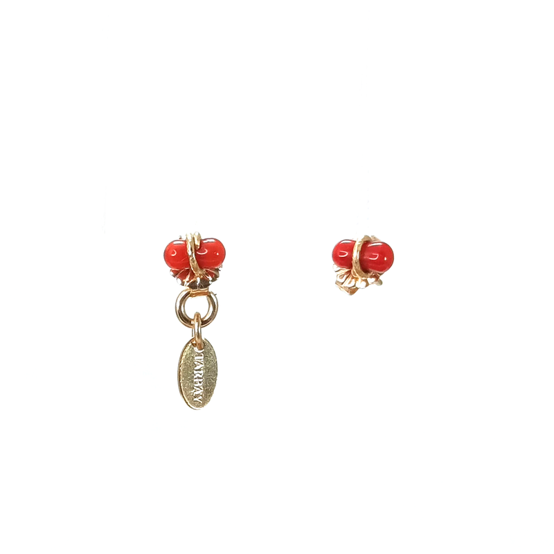 Amare Button Earrings (6-8mm) - Red Coral - TARBAY