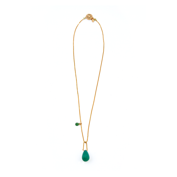 Agnes Pendant with chain - Peridot & Green Onyx - TARBAY
