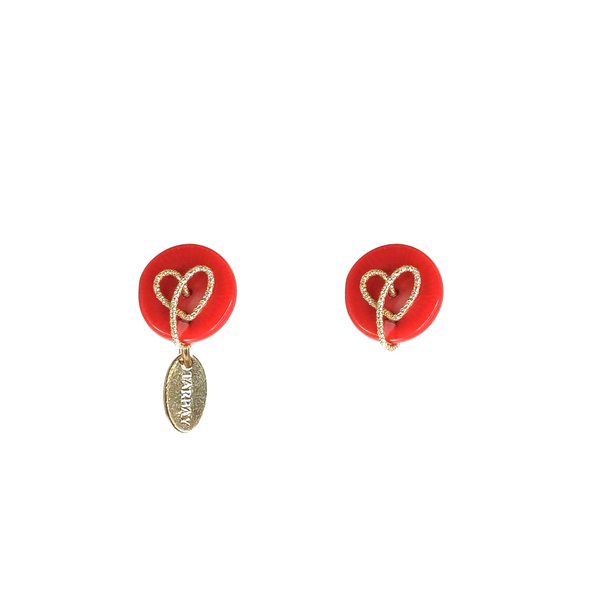 Amare Button Earrings (15-18mm) - Red Coral - TARBAY