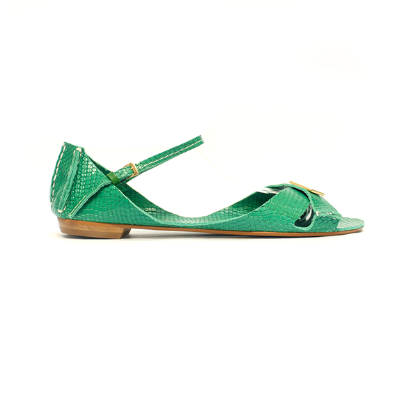 Tajali Leather Sandals - Viper Green - TARBAY
