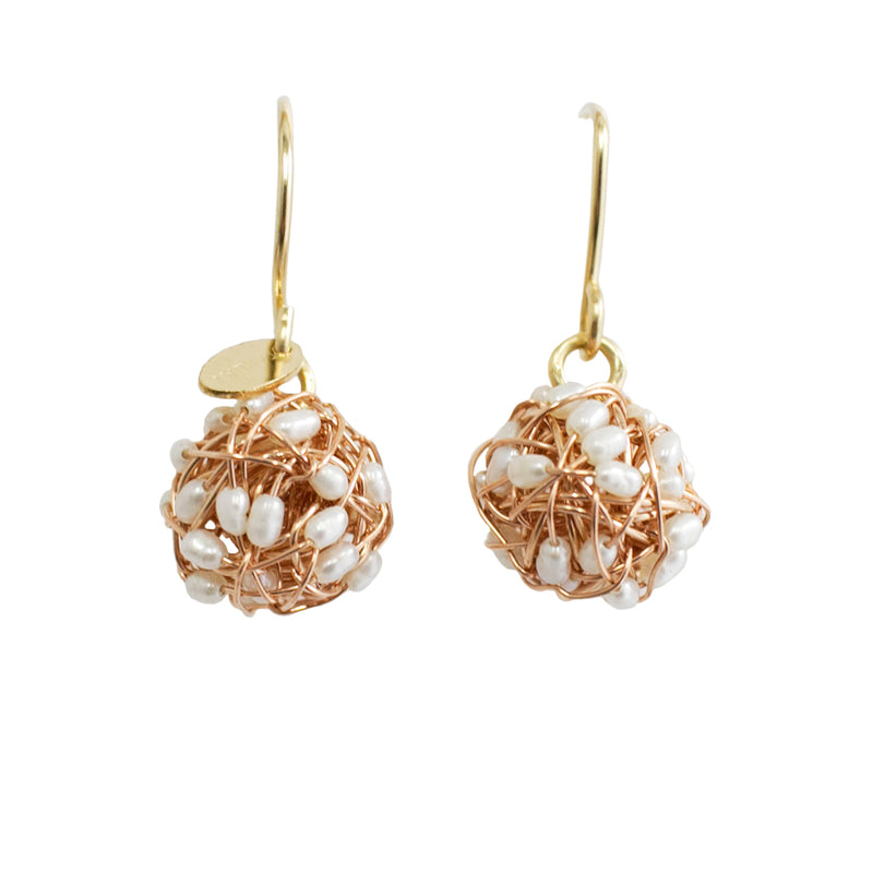 Clementina Dangle Earrings (12mm) - Rose Gold & Pearl - TARBAY