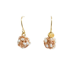 Clementina Dangle Earrings (9mm) - Rose Gold & Pearl - TARBAY