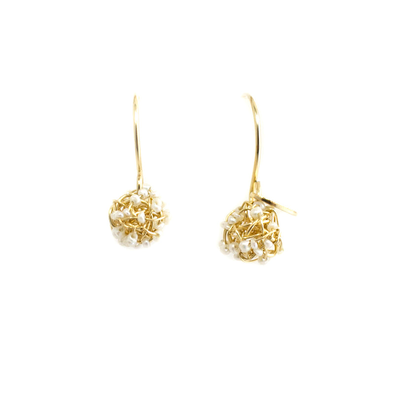 Clementina Dangle Earrings (6mm) - Yellow Gold & Pearl - TARBAY