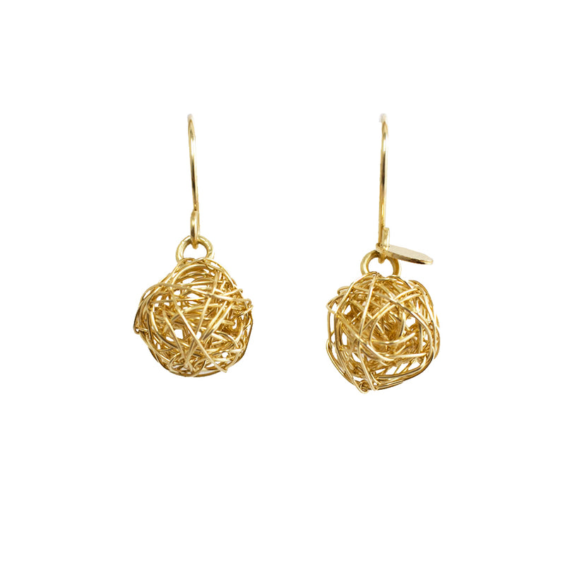 Clementina Dangle Earrings (12mm) - Yellow Gold - TARBAY