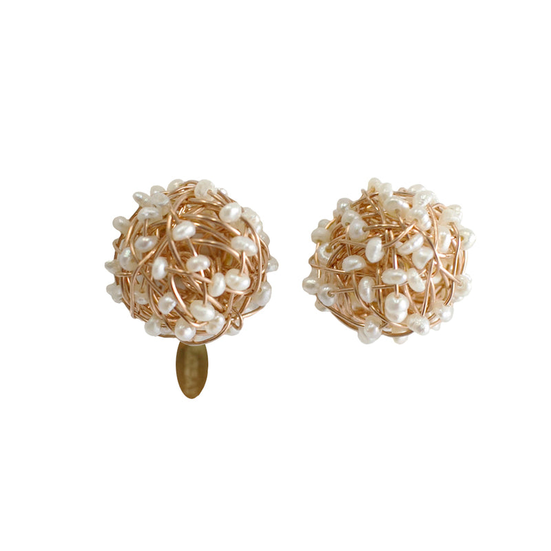 Clementina Button Earrings (12mm) - Rose Gold & Pearl - TARBAY