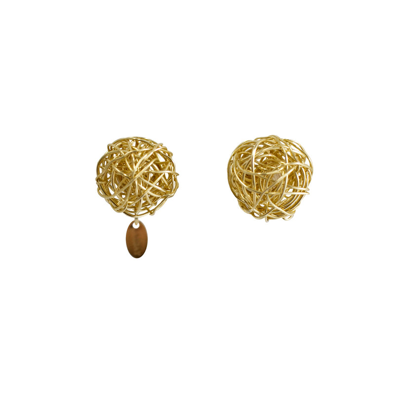 Clementina Button Earrings (12mm) - Yellow Gold - TARBAY