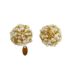 Clementina Button Earrings (12mm) - Yellow Gold & Pearl - TARBAY