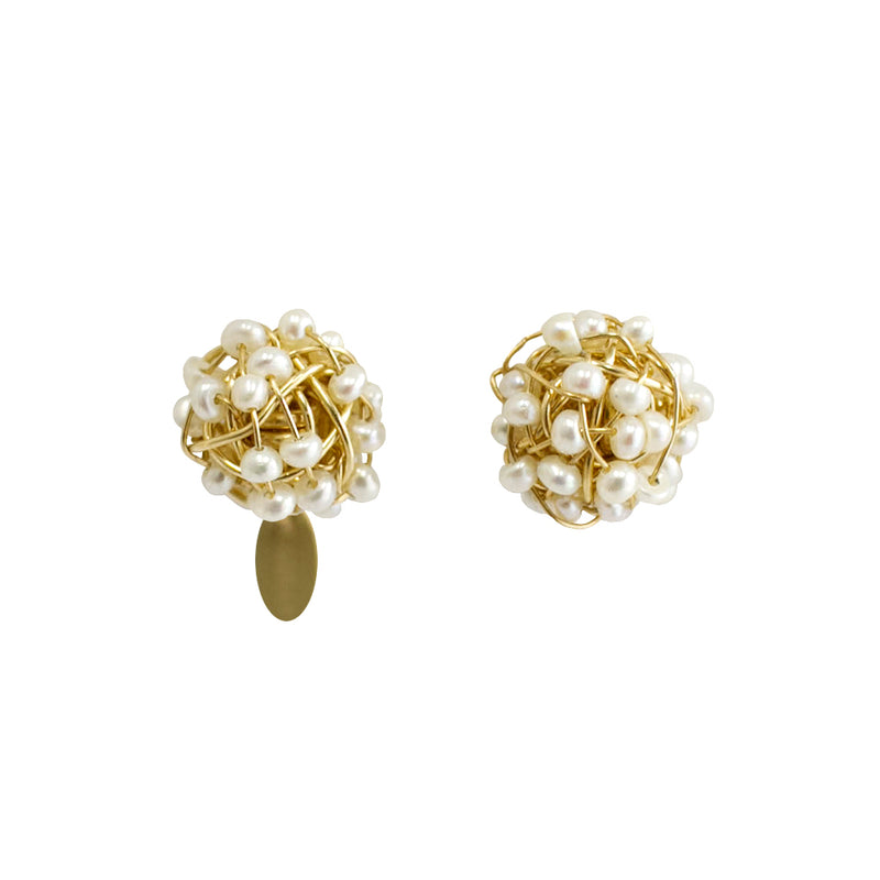 Clementina Button Earrings (9mm) - Yellow Gold & Pearl - TARBAY