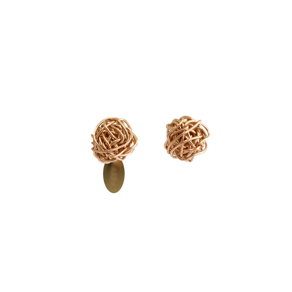 Clementina Button Earrings (6mm) - Rose Gold - TARBAY