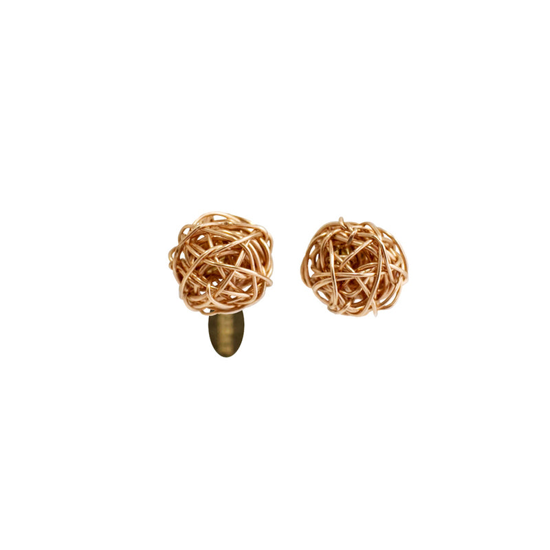 Clementina Button Earrings (9mm) - Rose Gold - TARBAY