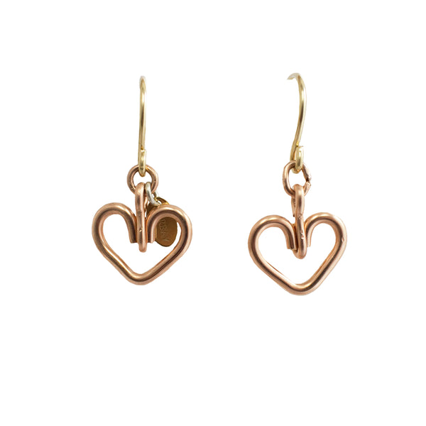 Corazon Dangle Earrings (12mm) - Rose Gold - TARBAY
