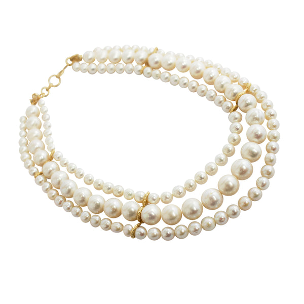 Triple Pearl Necklace (7-12mm)
