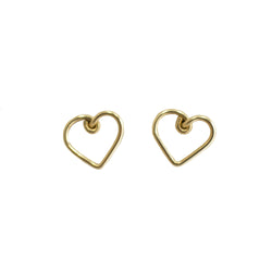 Corazon Button Earrings (12mm) - Yellow Gold - TARBAY