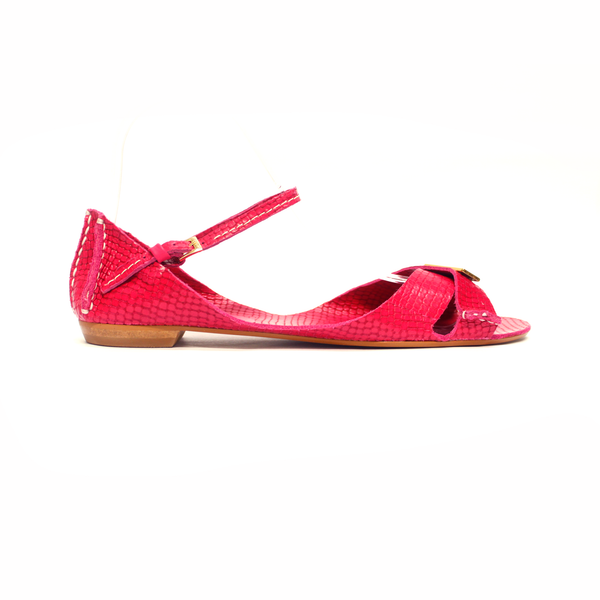 Tajali Leather Sandals - Viper Pink - TARBAY