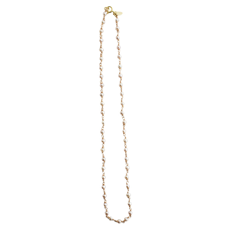 Pearl Chain Necklace (4-5mm) - Rose Gold - TARBAY