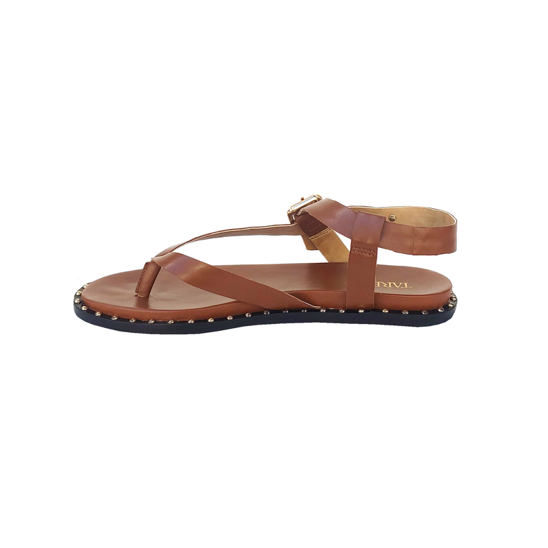 Haden Leather Strappy Flat Sandals - Caramel - TARBAY
