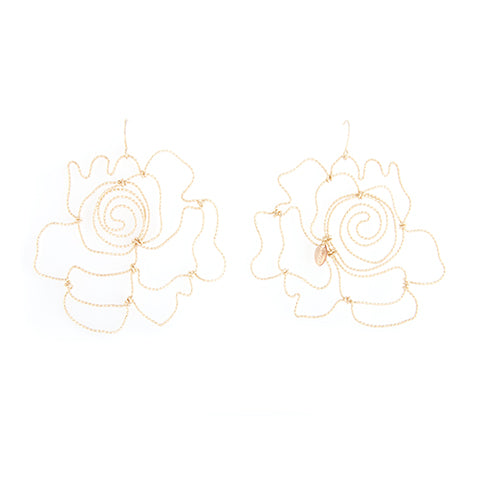 Rosas Dangle Earrings (75mm) - Yellow Gold