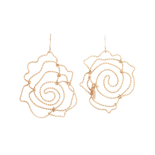 Rosas Dangle Earrings (50mm) - Yellow Gold