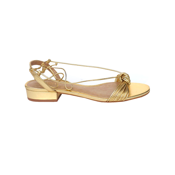 Julie Ankle Strap Leather Sandals - Metallic Gold