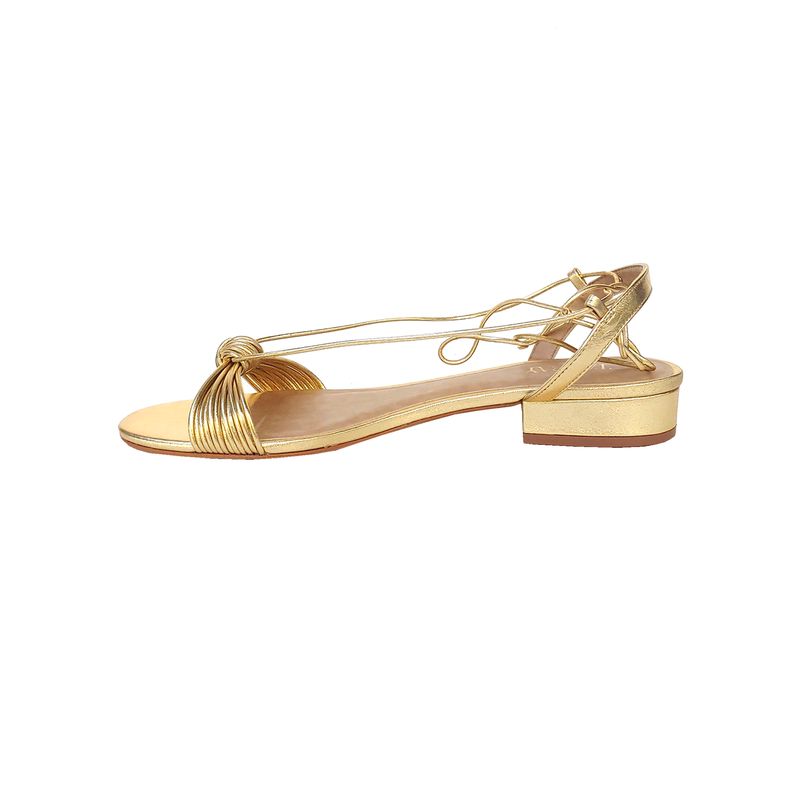 Julie Ankle Strap Leather Sandals - Metallic Gold - TARBAY