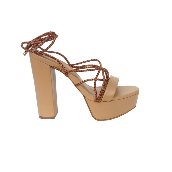 Keitt Lace up High Heel Sandals - Havana - TARBAY