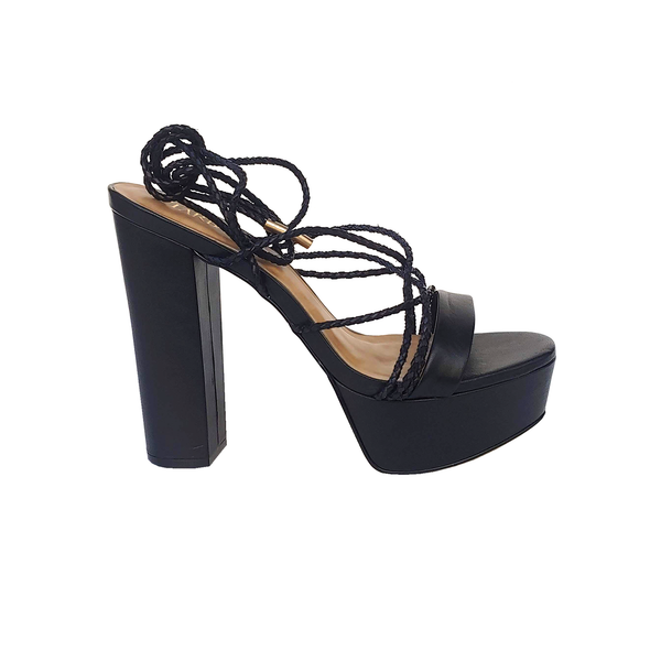 Keitt Lace up High Heel Sandals - Black - TARBAY