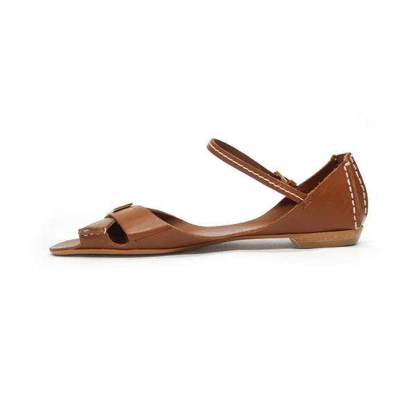 Tajali Leather Sandals - Caramel - TARBAY